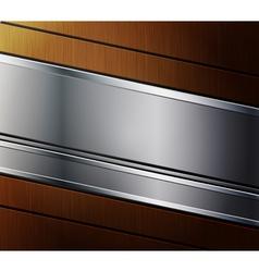 Metallic banner on wooden background vector image