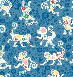 Seamless monkey pattern with flowers vector