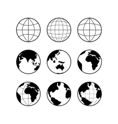 Globe earth icons set signs isolated on vector