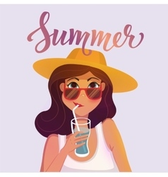 Summer girl drinking a cocktail Cartoon vector image