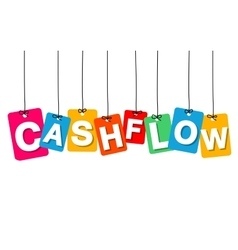Colorful hanging cardboard tags - cashflow vector