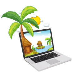 Laptop display tropical islands vector