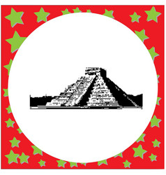 black 8-bit pyramid kukulkan in the mayan vector image vector image