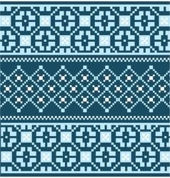 Blue scandinavian embroidery pattern vector