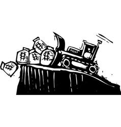 Bulldozing Money vector image vector image