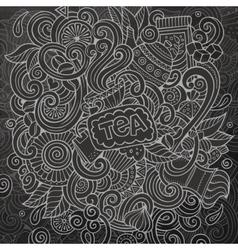 Cartoon doodles cafe coffee shop background vector image