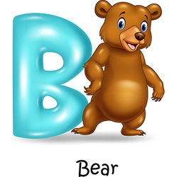 Cartoon of B letter for Bear vector image vector image