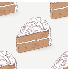 Chocolate cake doodle seamless pattern vector image