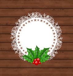 Christmas greeting card with holly berry vector image