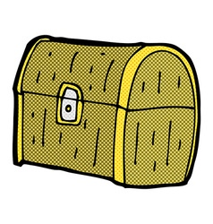 Comic cartoon treasure chest vector