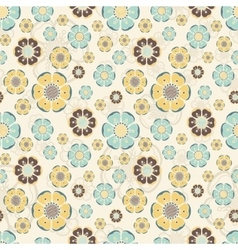 Fashion pattern with flowers in retro color vector