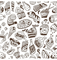 fast food - seamless background vector image