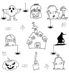 Halloween element castle pumpkins doodle vector