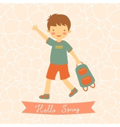 Hello spring card with cute little boy vector image vector image