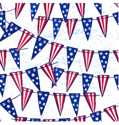 ink hand drawn seamless pattern with flag garland vector image
