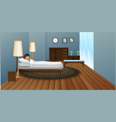 little boy sleeping in bedroom vector image vector image