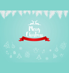 merry christmas with logo hand draw vector image vector image