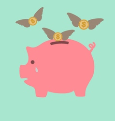 Piggy bank cry when see dollars flying away vector