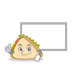 Pose with board sandwich character cartoon style vector