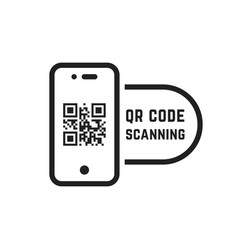 Qr code scanning like linear black phone vector