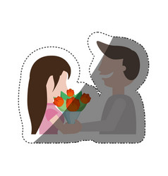 Romantic couple funny with flowers shadow vector