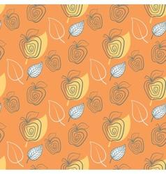 Seamless pattern with appleAppleyeelowleaf vector image vector image