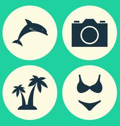 Season icons set collection of trees mammal vector