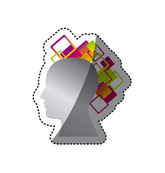 Silver contour human with squere icon vector