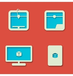 Simple 3D Printing Icons Set on a Red Background vector image vector image