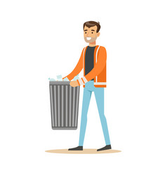 smiling man arrying garbage bin waste recycling vector image vector image