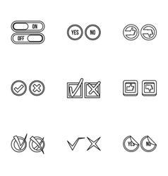 Tick icons set outline style vector