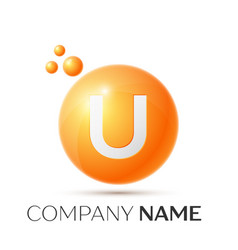 U letter splash orange dots and circle bubble vector