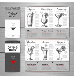 Vintage cocktail menu design vector image vector image