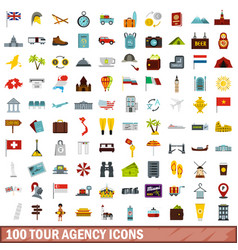 100 tour agency icons set flat style vector