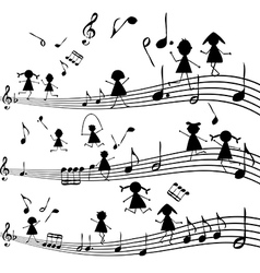 Music note with stylized kids silhouettes vector image