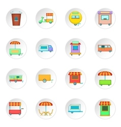 Street food kiosk vehicle icons set vector