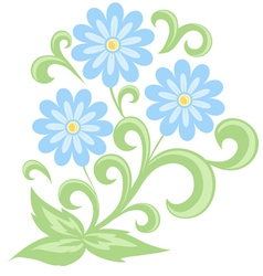 Blue daisies in soft colors isolated on white vector