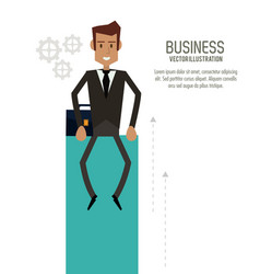 Businessman man male suitcase business icon vector