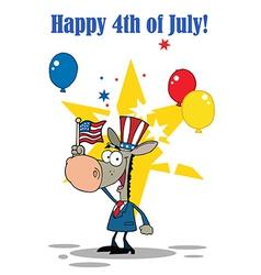 Patriotic Donkey Waving An American Flag vector image