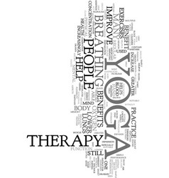 Yoga therapy text word cloud concept vector