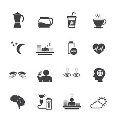 Benefit of coffee flat design icons set for vector