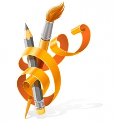 Pencil and brush vector
