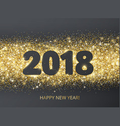 2018 glitter typography design golden sparkling vector image