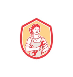 Female mechanic spanner shield retro vector