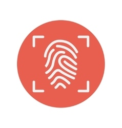 Fingerprint scanning thin line icon vector