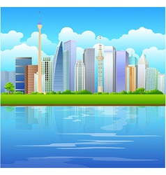 Urban background with river front vector