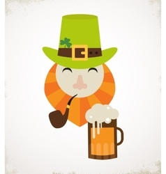 Cute cartoon leprechaun with beer St Patricks vector image