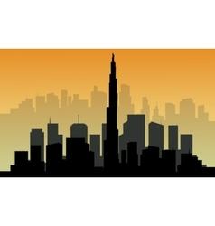 Silhouette of big dubai city vector
