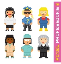 Pixel art style professions set 3 vector