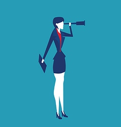 Business women looking through a telescope vector